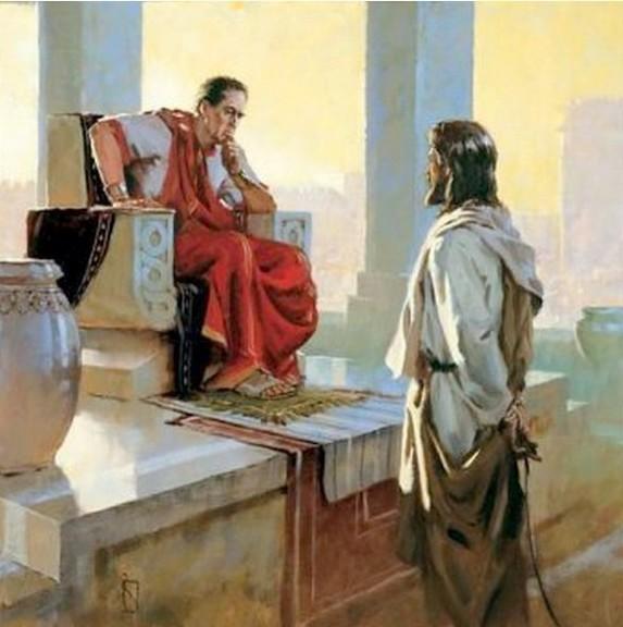 Discussion de Pilate et Jésus sur la royauté